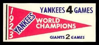 61F Pennant Decals 1923 Yankees