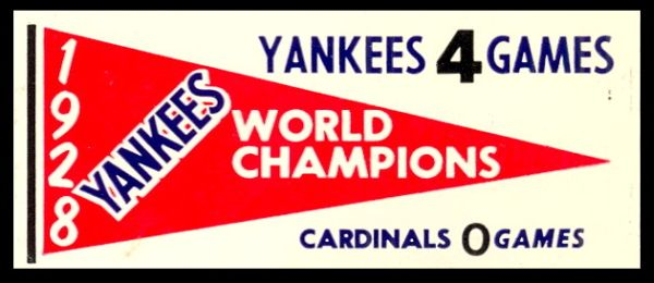 61F Pennant Decals 1928 Yankees