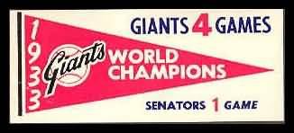 61F Pennant Decals 1933 Giants