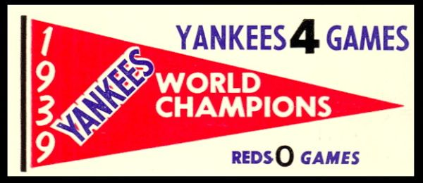 61F Pennant Decals 1939 Yankees