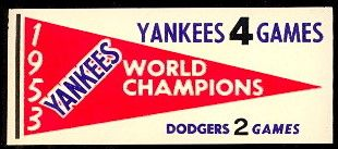 61F Pennant Decals 1953 Yankees