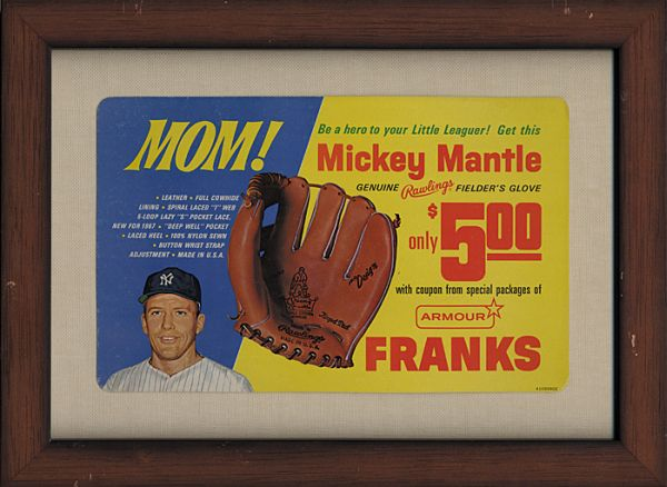 1967 Mickey Mantle Armour Franks Advertising Sign