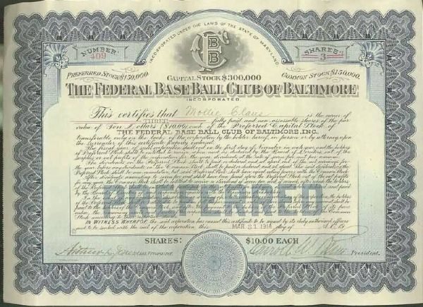 1914 Baltimore Terrapins Federal League Stock Certificate