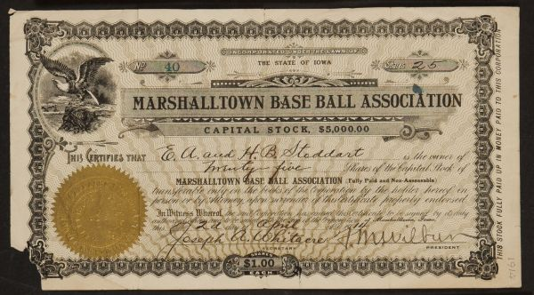 1914 Marshalltown Base Ball Association Stock Certificate