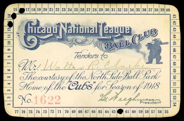 1918 Chicago Cubs Season Pass
