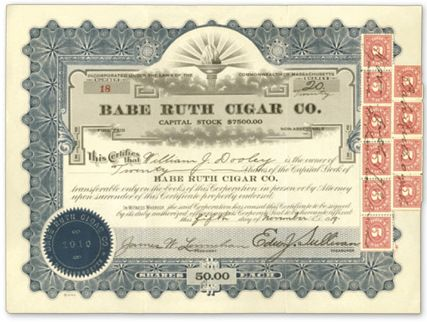 1919 Babe Ruth Cigar Stock Certificate