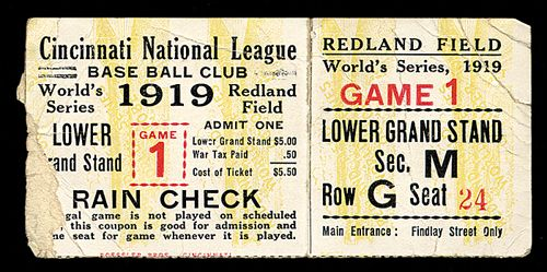 1919 World Series Ticket Game 1