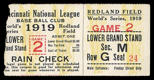 1919 World Series Ticket Game 2