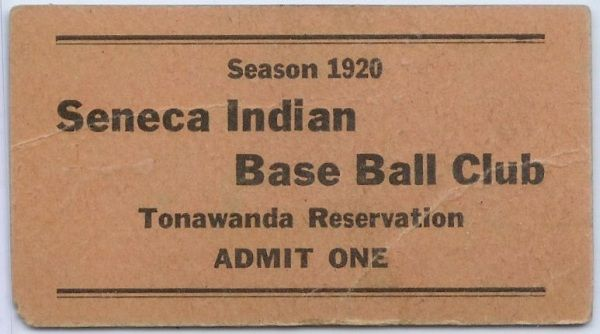 1920 Seneca Indian Base Ball Club Ticket