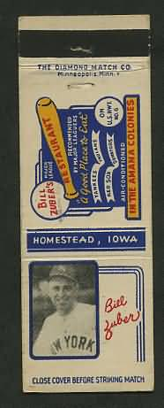 1930 Matchbook Bill Zuber Restaurant