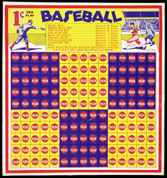 1930s Baseball Punch Board