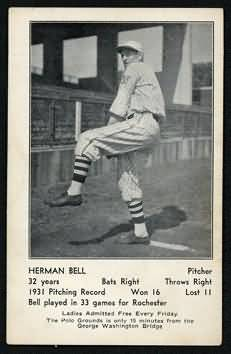 1932 Giants Schedule Postcards Bell