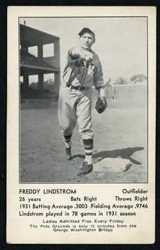1932 Giants Schedule Postcards Lindstrom