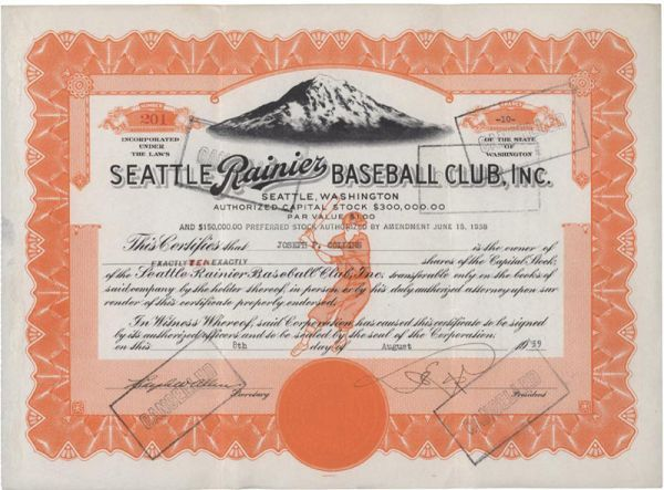 1939 Seattle Rainiers Stock Certificate
