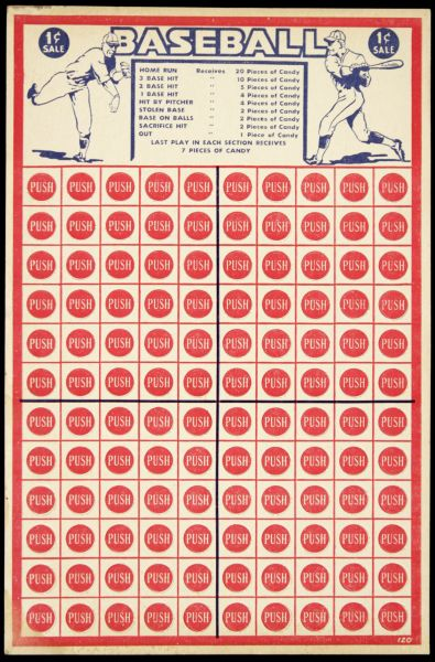 1940s Baseball Punch Board
