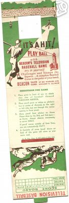 1950s Beacon Television Baseball Game Card