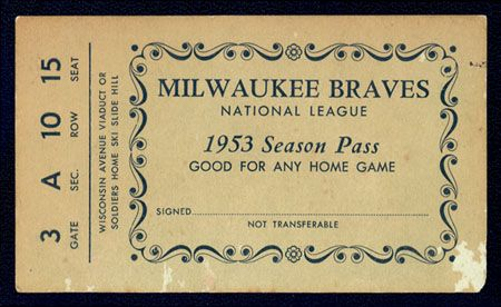 1953 Milwaukee Braves Gold Season Pass
