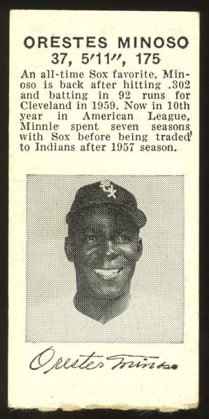 1960 Chicago White Sox Ticket Stub Minoso