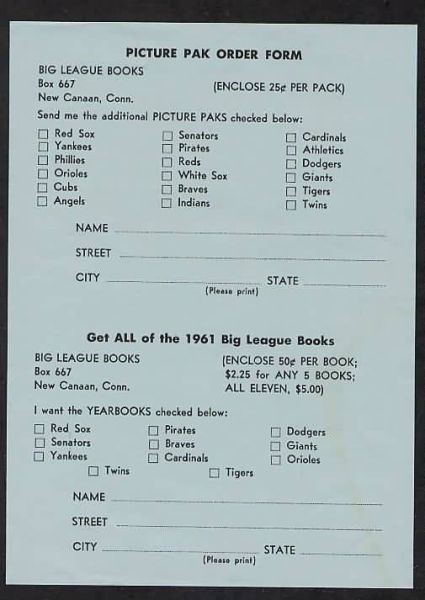 1961 Jay Publishing Picture Pak Order Form