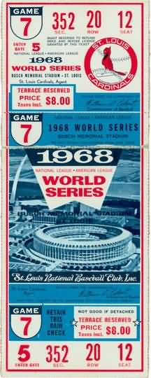 1968 World Series Game 7 Ticket