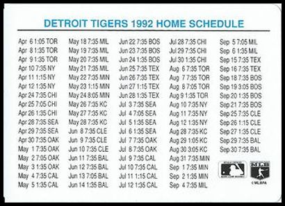 NNO1 1992 Tigers Home Schedule
