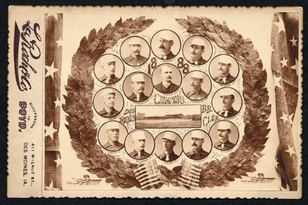 1888 Des Moines Baseball Club Cabinet