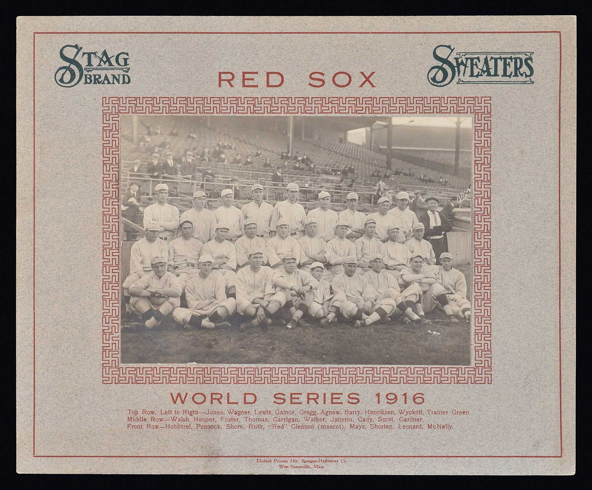 1916 Boston Red Sox Stag Brand Sweaters