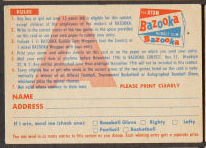 1956 Topps Football Contest Card