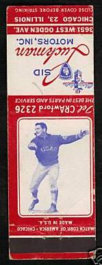 1940s Chicago Bears Matchbook Sid Luckman