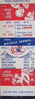 1949 Topps Matchbook AAFC Schedule