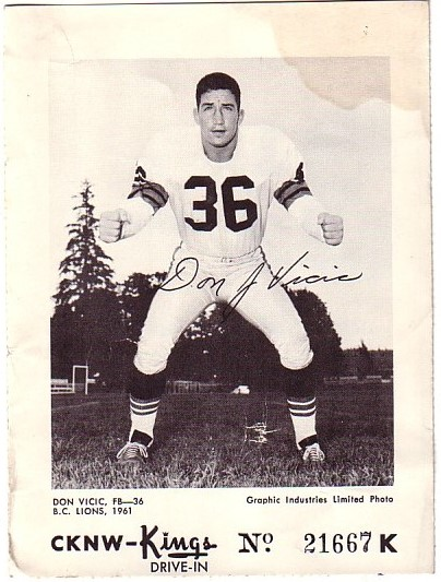 1961 CKNW CFL Kings Don Vicic
