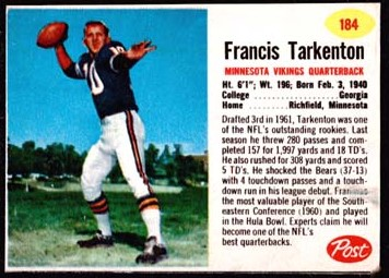 1962 Post Cereal 184 Fran Tarkenton
