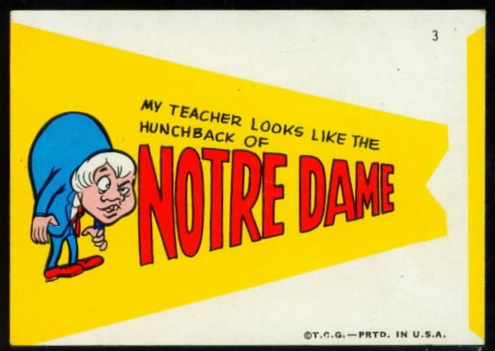 1967 Topps Comic Football Pennants Notre Dame