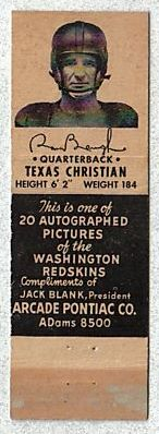 51RM 1951 Washington Redskins Matchbook Sammy Baugh